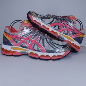 Asics Gel Nimbus 15 gray/pink/orange running shoes